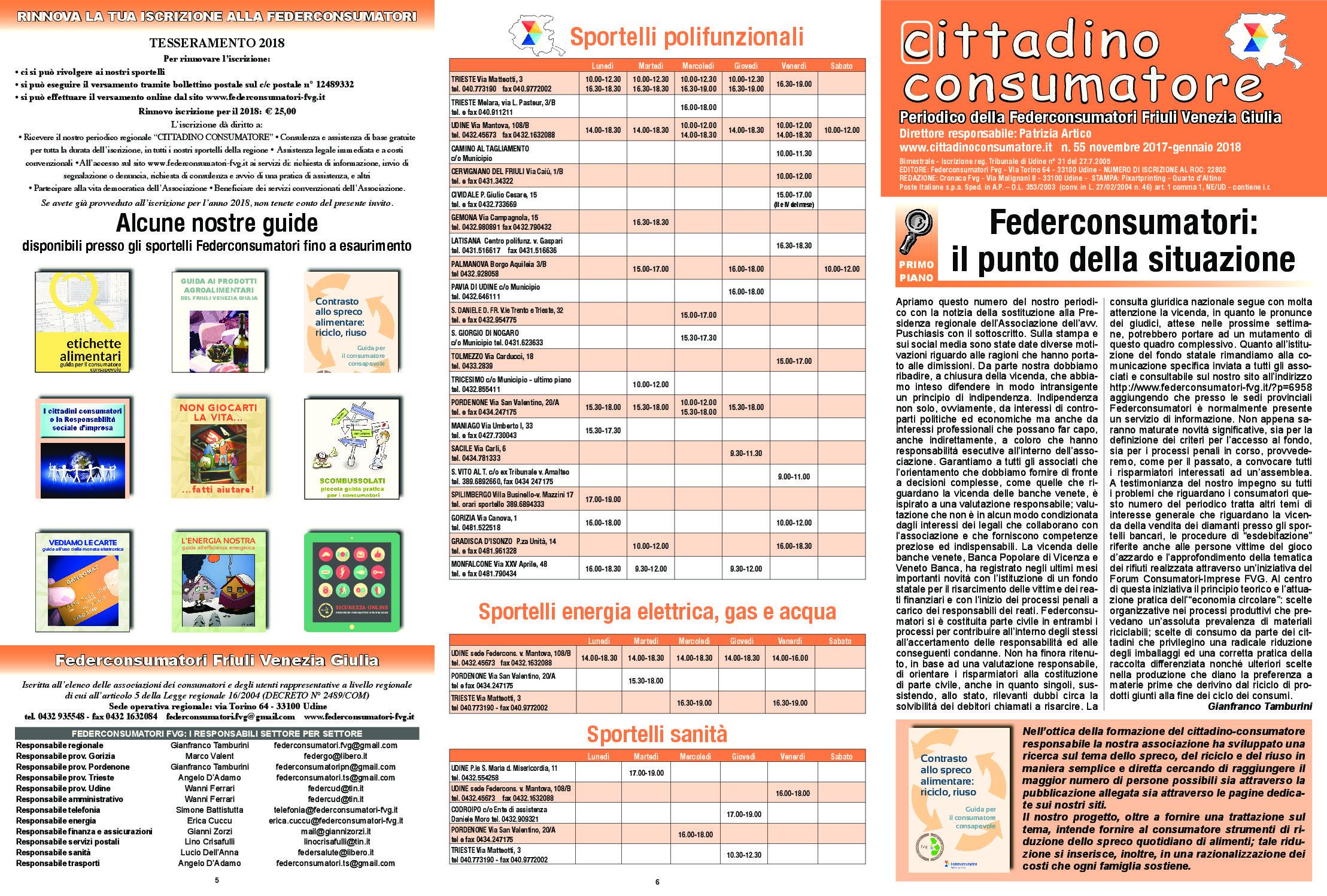 Cittadino Consumatore num. 55 (nov.2017 – gen.2018)